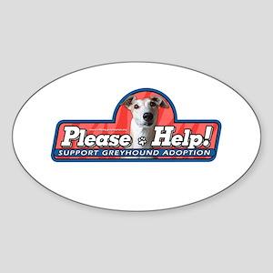 Greyhounds Please Help 2 Oval Sticker