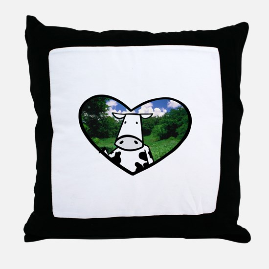 Cow in Paradise Throw Pillow
