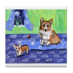 Corgi Mom w pup Tile Coaster