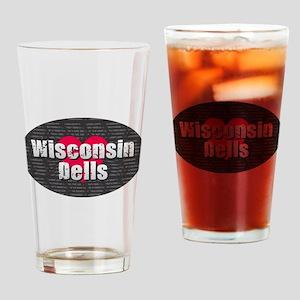 Wisconsin Dells w Heart Drinking Glass