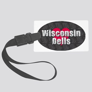 Wisconsin Dells w Heart Large Luggage Tag