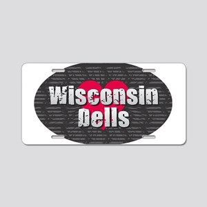 Wisconsin Dells w Heart Aluminum License Plate