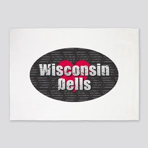 Wisconsin Dells w Heart 5'x7'Area Rug