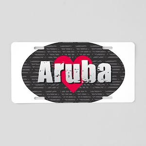 Aruba w Heart Aluminum License Plate