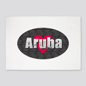 Aruba w Heart 5'x7'Area Rug