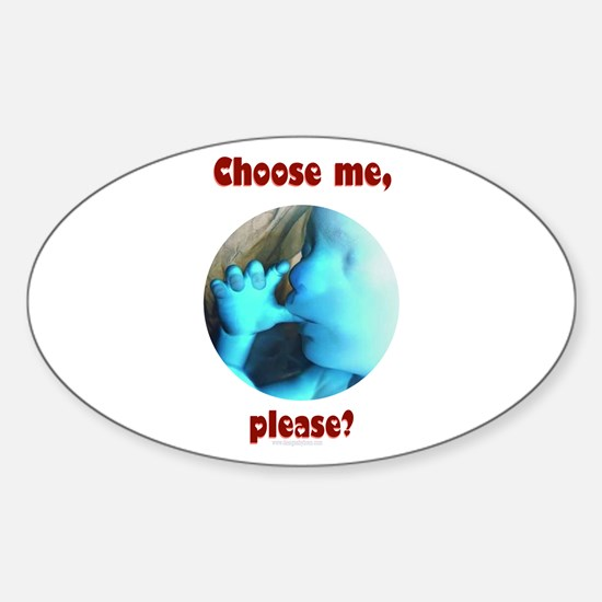 Choose me, please? Oval Decal