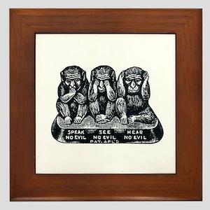 Three Monkeys Framed Tile