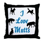 I Love Mutts Throw Pillow