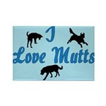 I Love Mutts Rectangle Magnet