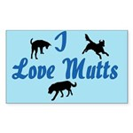 I Love Mutts Rectangle Sticker