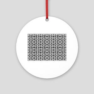 black white greek key Round Ornament