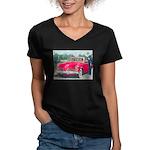 Red 1953 Studebaker on Women's V-Neck Dark T-Shirt