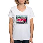 Red 1953 Studebaker on Women's V-Neck T-Shirt