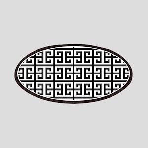 black white greek key Patch