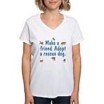 Adopt A Rescue Dog Women's V-Neck T-Shirt
