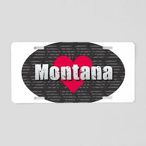 Montana w Heart Aluminum License Plate