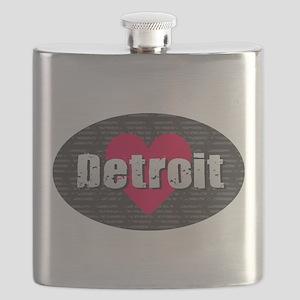 Detroit w Heart Flask