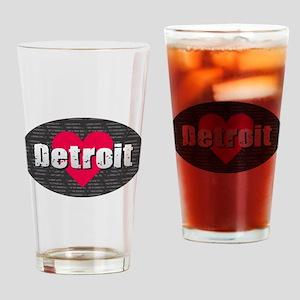Detroit w Heart Drinking Glass