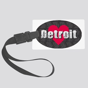 Detroit w Heart Large Luggage Tag