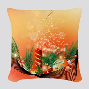 Beautiful Christmas Background Woven Throw Pillow