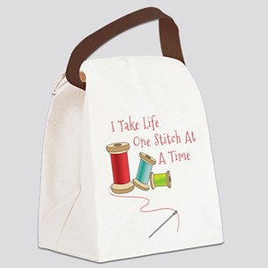 One Stitch at a Time Canvas Lunch Bag