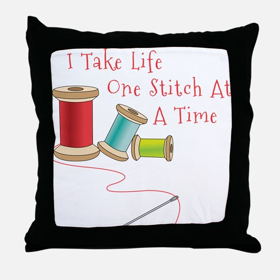 One Stitch at a Time Throw Pillow