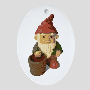 Retro Lawn Gnome Oval Ornament