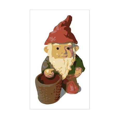 Retro Lawn Gnome Rectangle Sticker