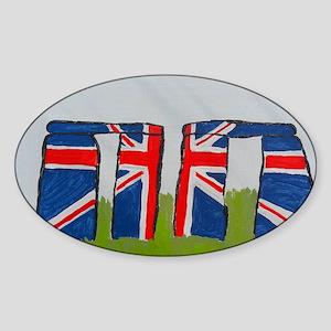 Union Jack Stonehenge Sticker (Oval)