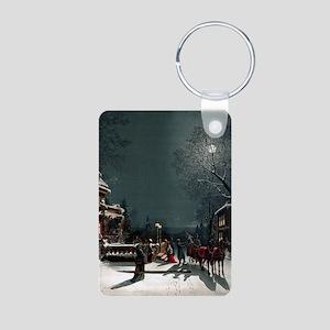 Vintage Christmas Eve Aluminum Photo Keychain