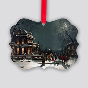 Vintage Christmas Eve Picture Ornament