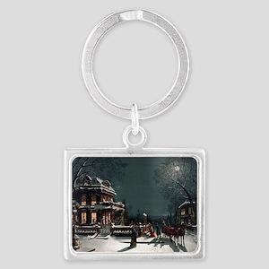 Vintage Christmas Eve Landscape Keychain