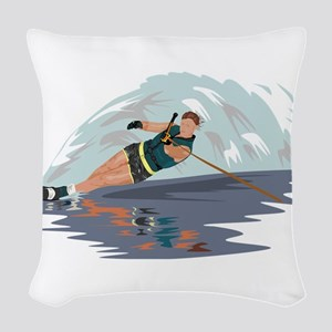 Water Skiing Woven Throw Pillow