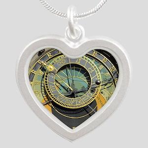 Prague Astronomy Clock Silver Heart Necklace
