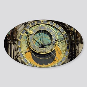 Prague Astronomy Clock Sticker (Oval)