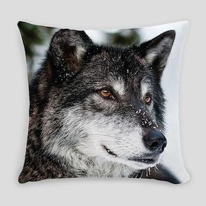 Beautiful Grey Wolf Everyday Pillow