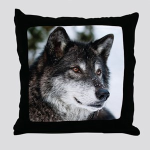 Beautiful Grey Wolf Throw Pillow