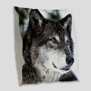 Beautiful Grey Wolf Burlap Throw Pillow