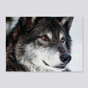 Beautiful Grey Wolf 5'x7'Area Rug
