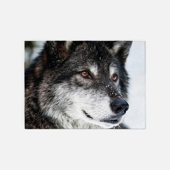 Beautiful Grey Wolf 5'x7'Area Rug