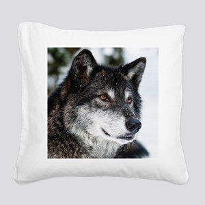 Beautiful Grey Wolf Square Canvas Pillow