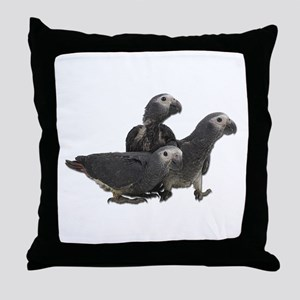 African Gray Parrot Babies Throw Pillow