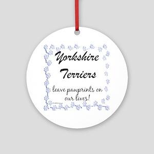 Yorkie Pawprint Ornament (Round)
