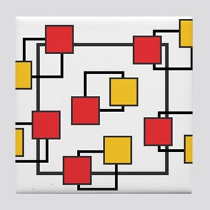 Red and Yellow Squares Tile Coaster