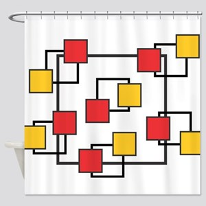 Red and Yellow Squares Shower Curtain