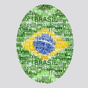 Textual Brasil Oval Ornament