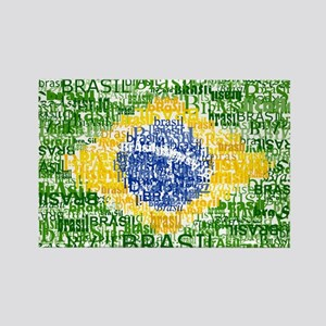 Textual Brasil Rectangle Magnet
