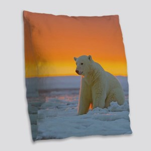 Polar Bear Burlap Throw Pillow
