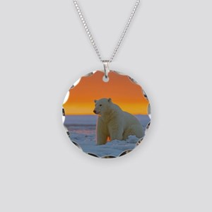 Polar Bear Necklace Circle Charm