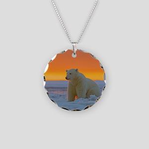 Polar Bear Necklace Circle Charm
